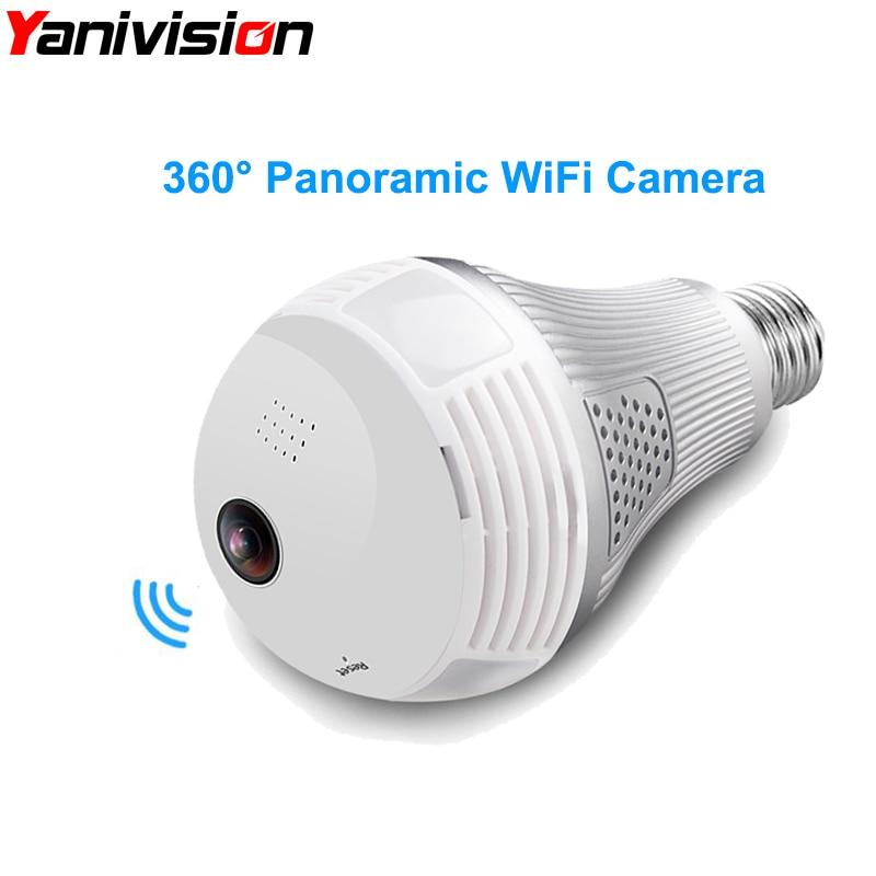 Bulb Light Wireless IP Camera Wifi Fisheye 960P 360 degree VR Camera 1.3MP 3MP 5MP Home Security WiFi Camera Panoramic light bulb camera vr 360 degrees wifi3d fisheye panoramic light camera network led