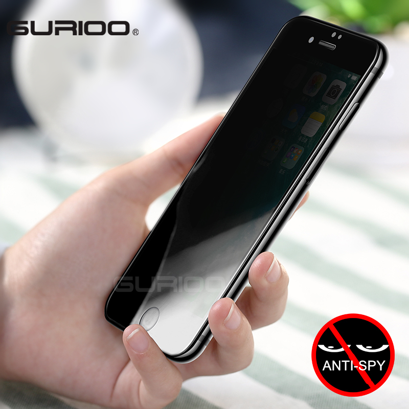 GURIOO Tempered-Glass Screen-Protector Privacy 6-Plus film Premium iPhone 7 for X 4S