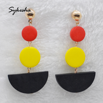 Elegant Bohemian Earrings Women Wooden African Earrings Wood Earrings Africa Korean Fashion Jewelry image