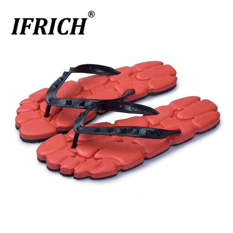 Hot Sale Discount Men Home Slippers Summer Men Shoes Designer Platform Flip Flops Mens Red Black Man Shower Slippers Anti Slip(China)