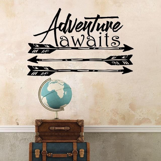ZOOYOO Adventure Awaits Quote Wall Sticker Boho Arrows Kids Nursery ...