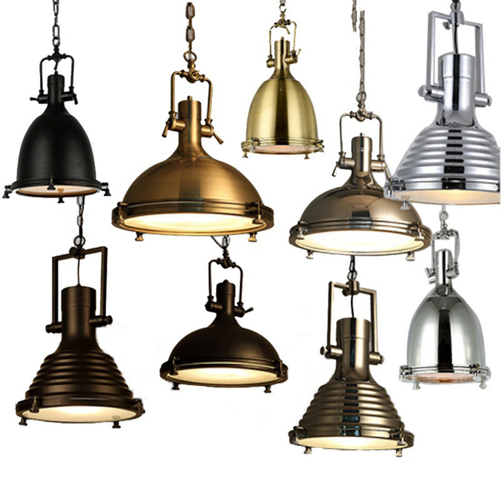 American Loft Kitchen Pendant Lights Modern Metal Shade Hanging Lamp for Dining Room Bar Restaurant Industrial Light Fixtures loft vintage industrial pendant light fixtures copper glass shade pendant lamp restaurant cafe bar store dining room lighting