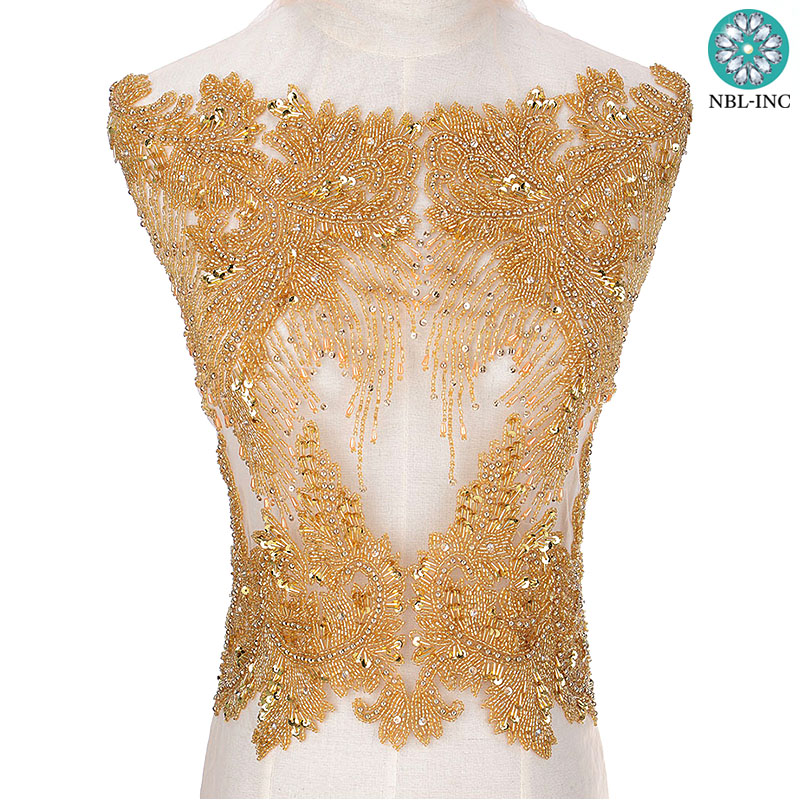 5PCS Sexy bridal wedding hand beaded rhinestone bodice applique dress women WDD0804