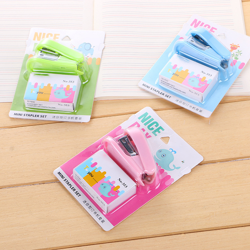 Creative Colored <font><b>12</b></font># Mini Stapler Staples Set Kawaii Office Stationery Paper Cute School Supplies Students Gifts Lovely Things image
