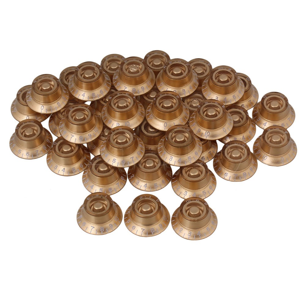 ФОТО Yibuy 80 x Hat Speed Control Knobs Gold with White Number for Electric Guitar