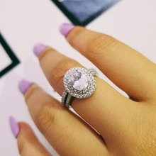 цена fashion 925 sterling silver OVAL Rings for women wedding engagement Luxury rings sets band ring Jewelry for bridal bride  R4410S в интернет-магазинах