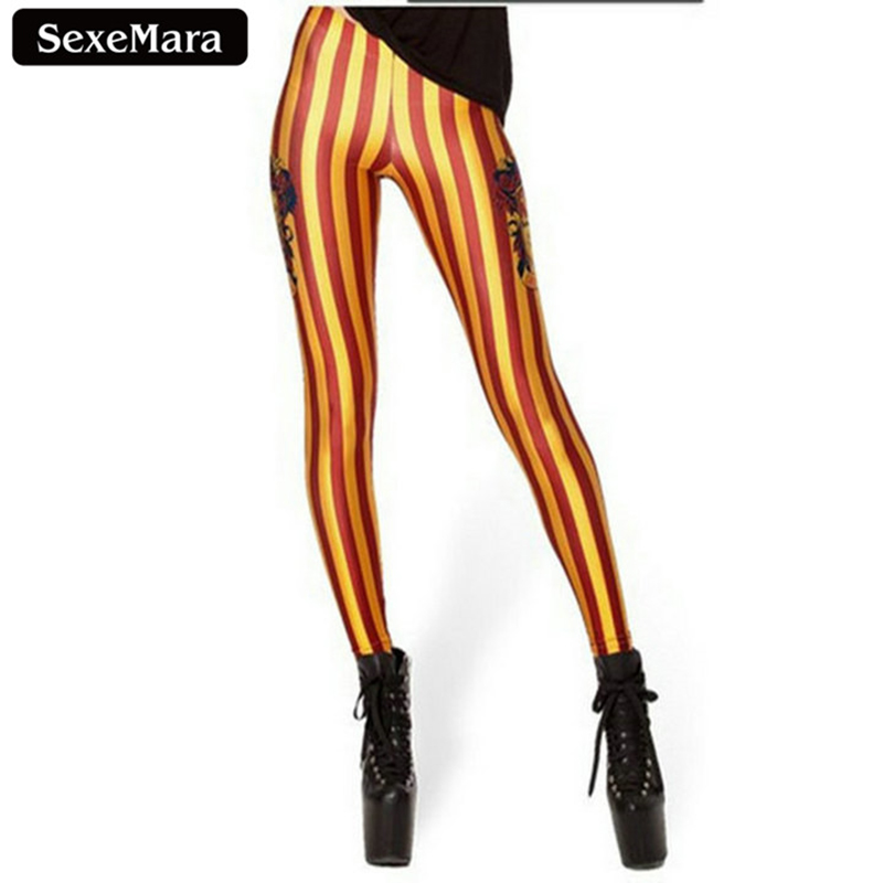 2017 Gryffindor Digital Printed Red Striped Yellow Leggings Fashion Slim Fitness Women Gothic Creative Sexy Pencil Pants BL-071