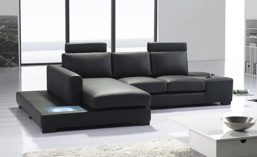 Modern L Shaped Simple White Black Cattle Leather Corner Sofa With Led Light Set Best Furniture Living Room Lc9110 2 In Sofas From