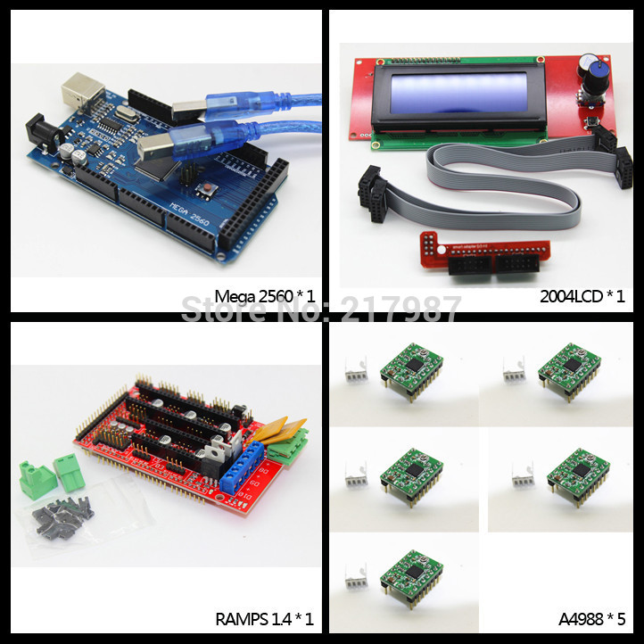 3d printer kit 1pcs Mega 2560 R3 + 1pcs RAMPS 1.4 Controller + 5pcs A4988 Stepper Driver Module +1pcs 2004 controller 1pcs 100