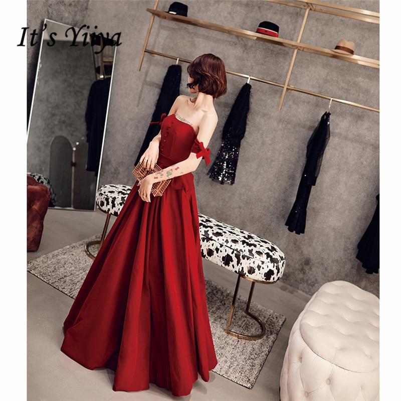 It's YiiYa Evening Dresses 2019 Off Shoulder Bow Sleeves Elegant Women Party Dress Floor Length Robe De Soiree Plus Size E521