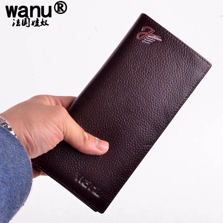WANU Mens Vintage Wallets 100% Genuine COW Leather Wallet Color For Man LONG coin purse HIGH quality witht gift box boy