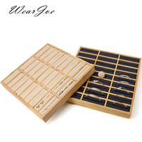 Solid Wood Bangle & Couple Rings Jewelry Display Tray Stand Rack 27 slots Handrim Bague Circlet Holder Shelf Table Top Organizer
