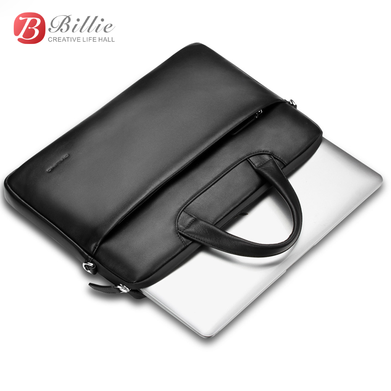 """Image 3 - Laptop bag case For Macbook Asus lenovo 13""""15"""" Deluxe Genuine Men's Briefcase High Quality handbag computer bags Notebook bags-in Laptop Bags & Cases from Computer & Office"""