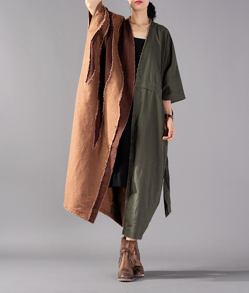 Women Autumn Coton Linen Patchwork Plus Size Trench coat Outwear Female Loose Ripped Overcoat Ladies Big Size Coat 2018