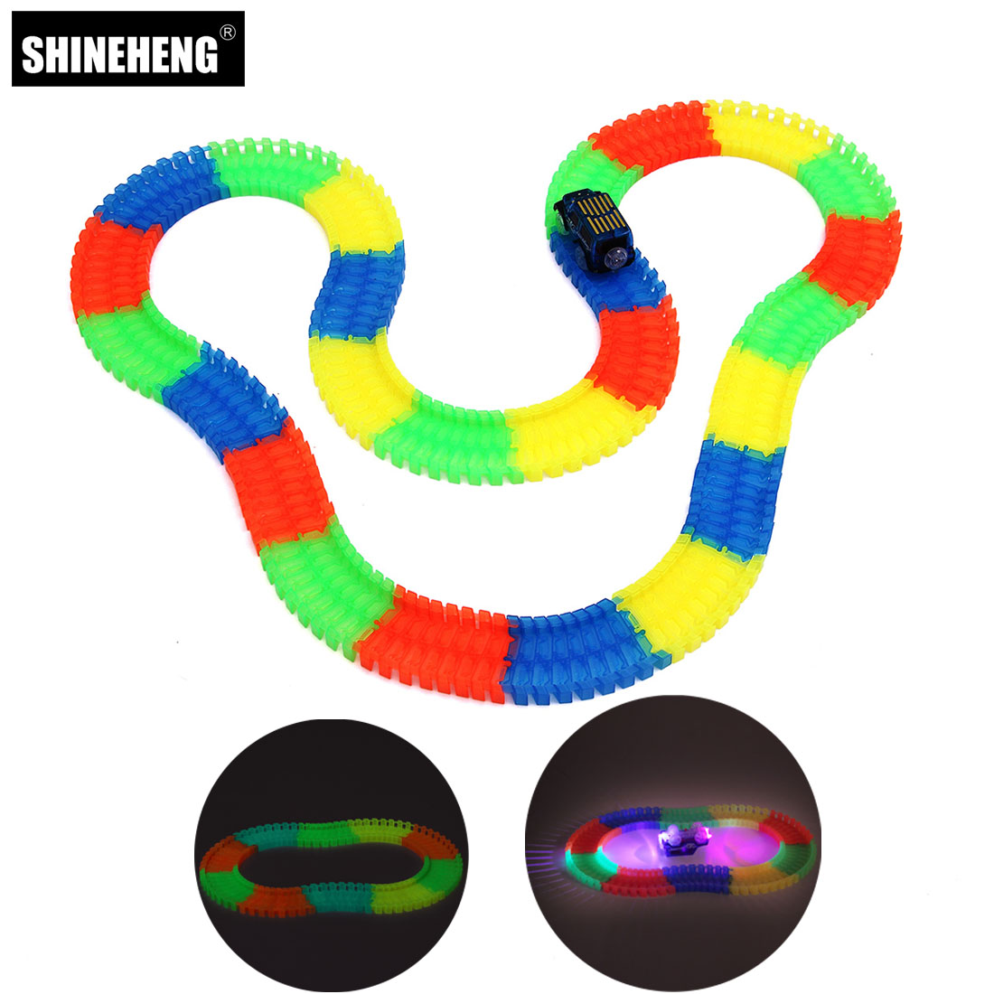 Wunder Glow Racing Spur Gesetzt Flexible Tracks Spielzeug 80/165/220/240 stücke Rennstrecke + 1 oder 2 stücke Led Auto mit 1 stück Squishy für Geschenk