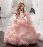 Blush pink ball gown tulle ruffles flower girl dresses for wedding party short sleeves crystals princess holy communion dress