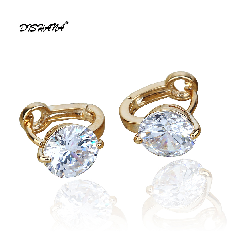 Altın renkli küçük Küpe beyaz Kristal Takı Marka Küpe Moda Takı Charm Kadınlar Hediye Hoop Küpe E0028