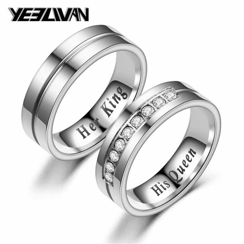 New Titanium Romantic Couple Ring His Queen Her King Diy Engraved Alliance Engagement Wedding Rings For Men Women Jewelry