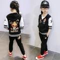 Children's spring autumn clothing sets Girls long-sleeve cartoon baseball uniform kids sports suits size 90-140cm