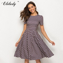 Elelady 2019 Summer New Fashion Chic Women Dress Dot Printed A-line Party Vestidos Short Sleeve O neck Elegant Vintage Dress(China)