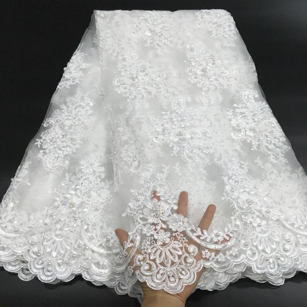 White African Lace Fabric 2019 Embroidered Nigerian Lace Fabric High Quality Cord lace French Tulle Lace