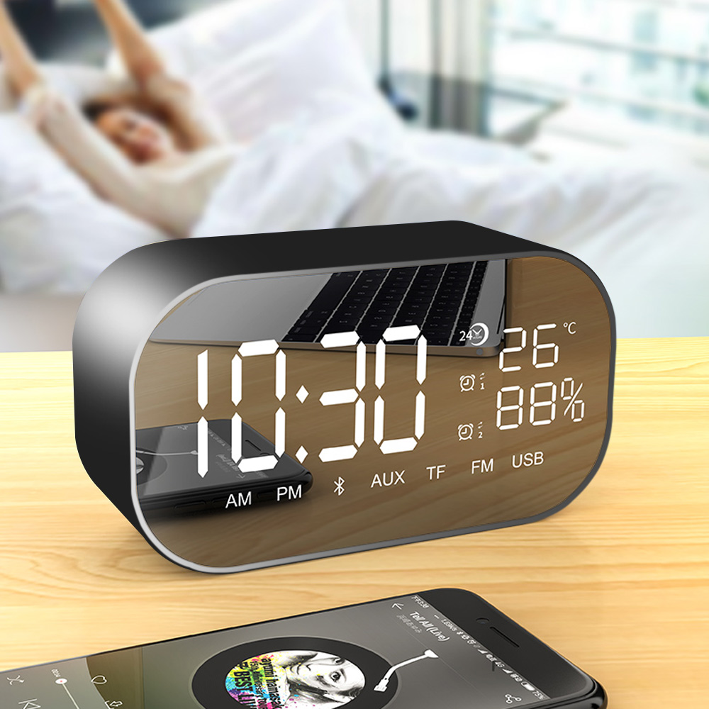 Tabletop FM Radio Stereo Receiver with Led Display USB Multifunction Double Bluetooth Speaker Alarm Clock Support