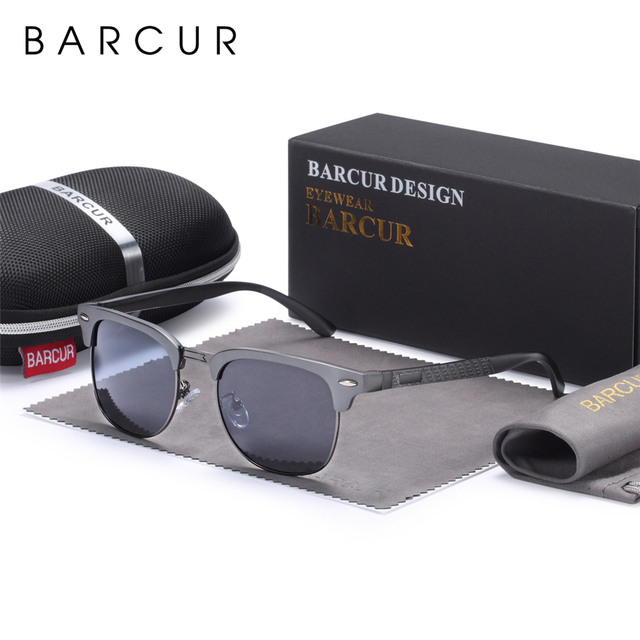 BARCUR الرجال النظارات الشمسية الألومنيوم الاستقطاب الذكور نظارات شمسية نظارات الكلاسيكية فاسق Gafas Oculos دي دول Masculino