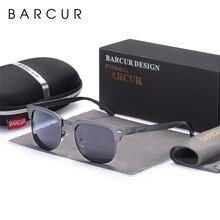 Barcur男性のサングラスアルミニウム偏光男性サングラス眼鏡クラシックパンクgafas oculosデdol masculino