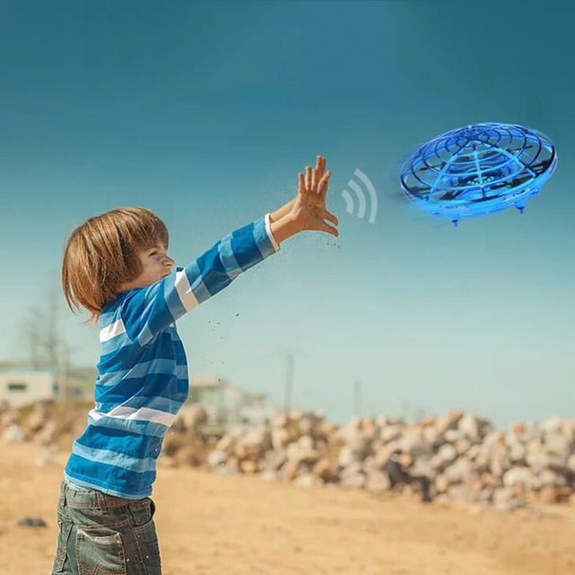 Funny Hand Controlled USB Charging Flying Ball Mini Aircraft Interactive Infrared Induction with 360 Rotating LED Light for Kid
