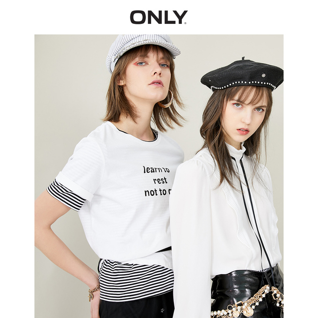 ONLY 2019 Spring Summer Women's 100% Cotton Letter Print Loose Fit Short-sleeved T-shirt |119101529