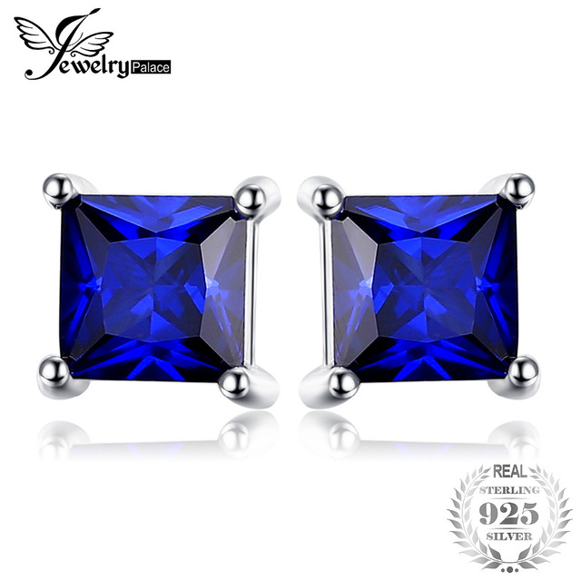 JewelryPalace Square   Blue Created Sapphire 925 Sterling Silver Stud Earrings New  for Women Gift  Fine Jewelry
