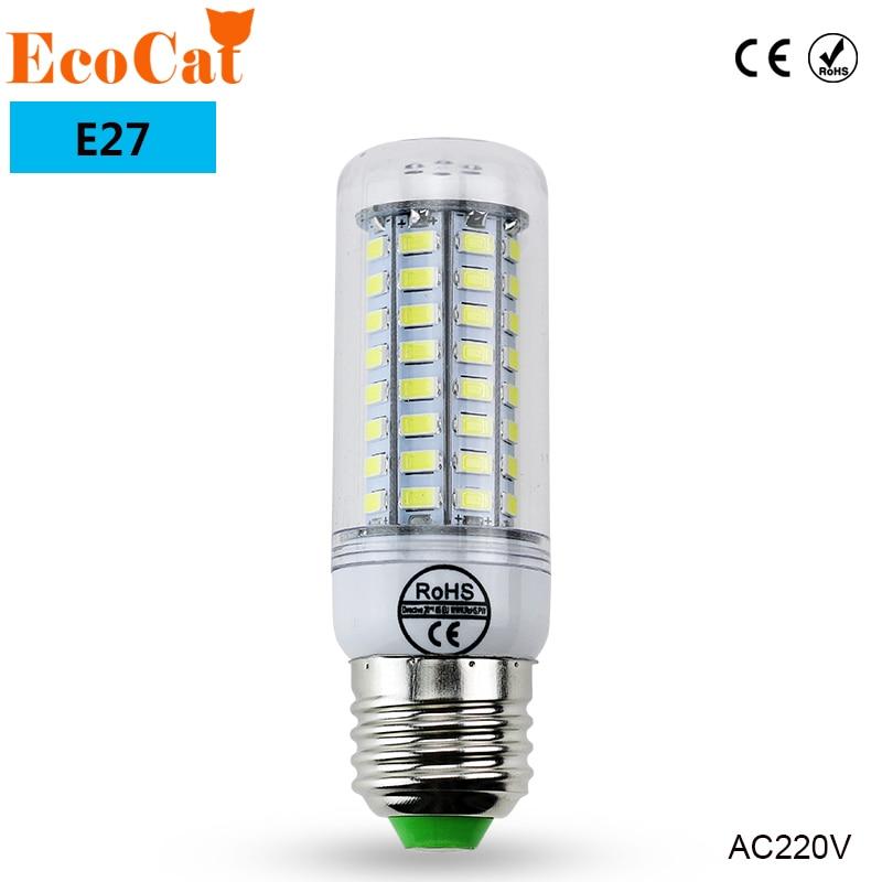 ECO Cat E27 LED Lamp 220V 240V LED Light Corn Bulb SMD5730 Lamp LED Bulbs 24 36 48 56 69 72 LEDs Home Decorated Chandelier Light