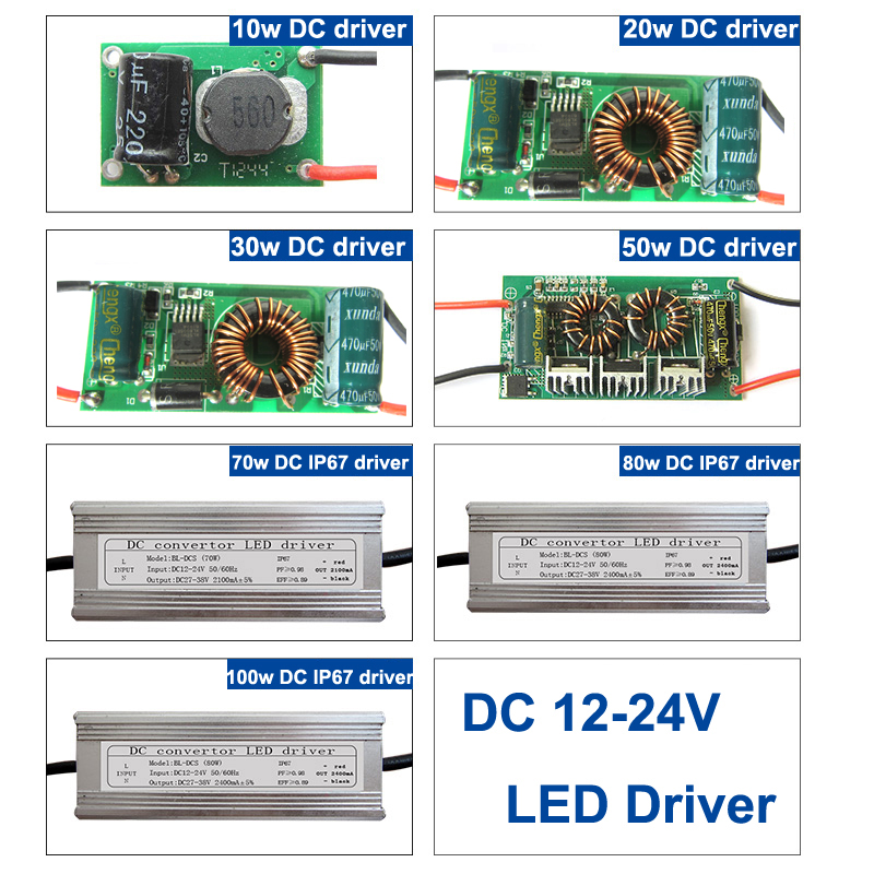 1 pcs 10 w 20 w 30 w 50 w Nonwaterproof LED Driver 70 w 80 w 100 w Waterproof IP67 DC 12-24V Power Supply Untuk lampu LED