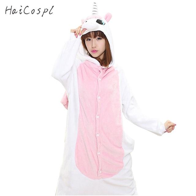 Rose Licorne Pyjama Ensemble Femmes Adulte Animal Cosplay Costume D hiver  Chaud Flanelle Onesie Pour 245d08033f17