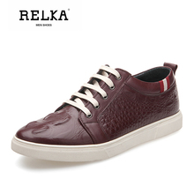 Купить с кэшбэком RELKA Fashion Men Luxury Casual Shoes Handmade Genuine Leather Round Toe Soft Heels Shoes Solid Lace-up Classic Men Shoes N19