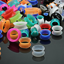 2pcs/lot Silicone Flexible Thin Double Flared Ear Plugs Gauges Earrings Expansion Piercing Flesh Tunnel Body Jewelry(China)