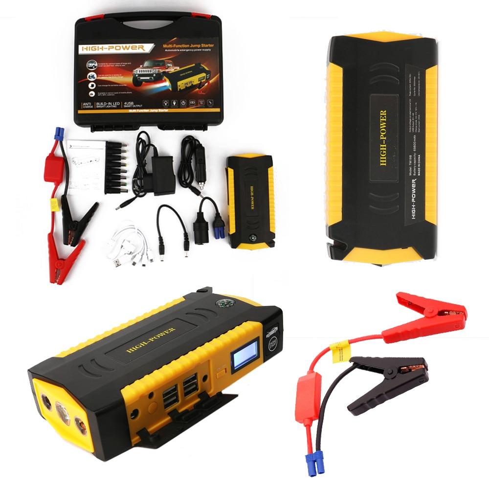 Large Capacity 69800mAh Car Jump Starter 4USB Portable Phone Laptops Power Bank SOS Lights Compass Safety