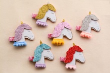 Wholesale 30pcs Fashion Cute Glitter Unicorn Girls Hairpins Kawaii Solid Felt Horse Animal Hair Clips Headware Accessories