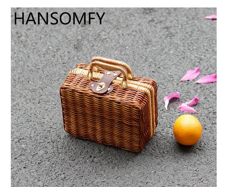 HANSOMFY | Vintage Main Tissé Sac Rabat En Rotin De Paille Sacs Bohême Style Sac De Plage D'été Sac Panier BagSuitcase Sac À Main Poudre boîte