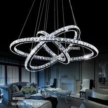 LLEVÓ Candelabros de Cristal Moderno del Acero Inoxidable Luz led Habitación Kroonluchter Lámparas Colgantes 3 Anillos DIY Diseño Araña De Diamantes
