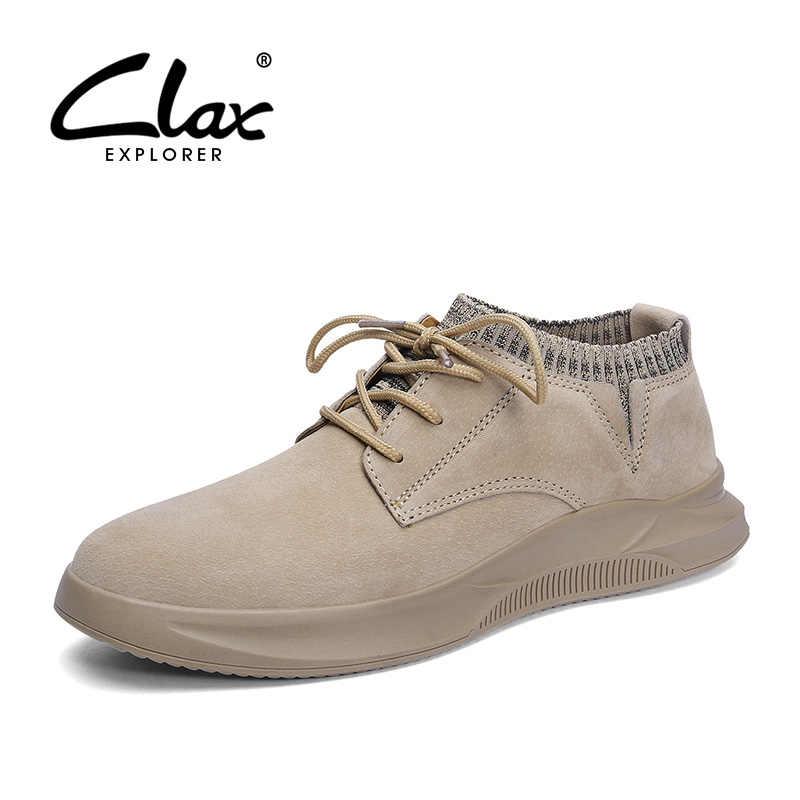 CLAX Heren Schoenen Leer 2019 Lente Zomer Man Casual Schoen Mode Man Sneakers Leisure Wandelen Schoeisel