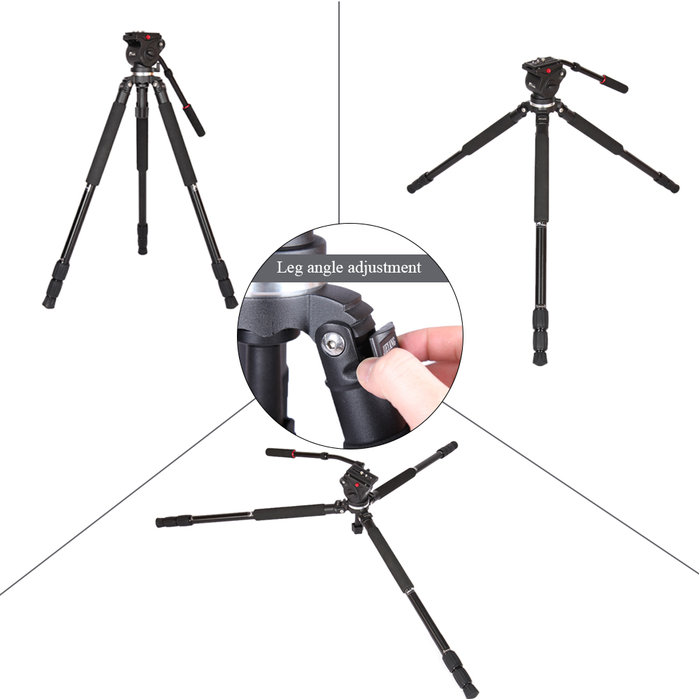 JY0509A Pro Aluminum Tripod with Fluid Drag Head Padded Bag Portable Flexible Tripod For Camera DSLR Cannon Nikon Video Camera in Tripods from Consumer Electronics