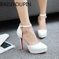 Aprikose Weiß Frauen Hochzeit Schuhe High Heels Einzigen Schuhe Ein Wort schnallen Rote Untere Kleine Yards30 31 Extra Große Schuhe 43 47 48