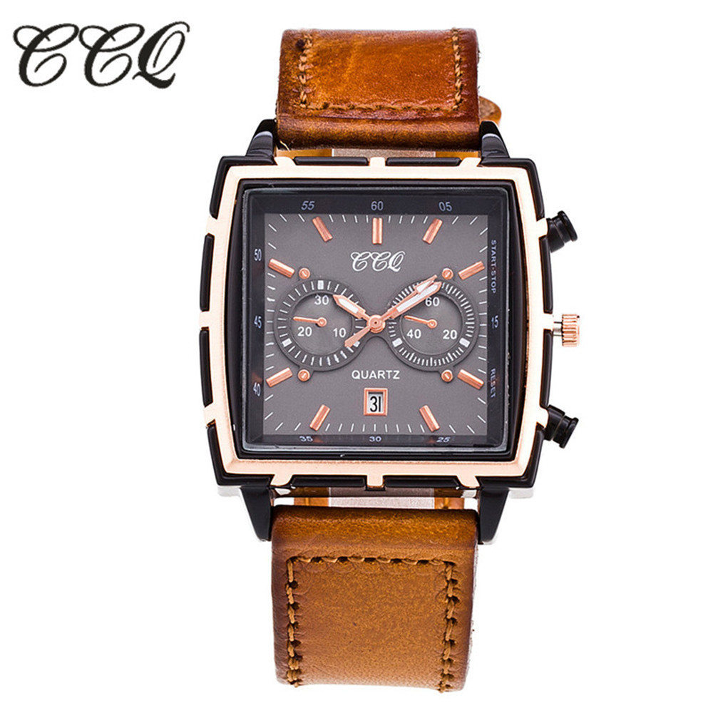 Hot Selling CCQ Mens Watches Top Brand Luxury Quartz Watch Men Leather Casual Sport Wristwatches Waterproof Relogio Masculino relogio masculino bos brand new luxury watch men fashion casual waterproof quartz watches genuine leather wristwatches hot gift