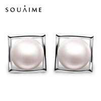 YKIN 2017 Spring New 925 Silver Natural Pearl Earrings Square Earrings Earrings Women Women Fine