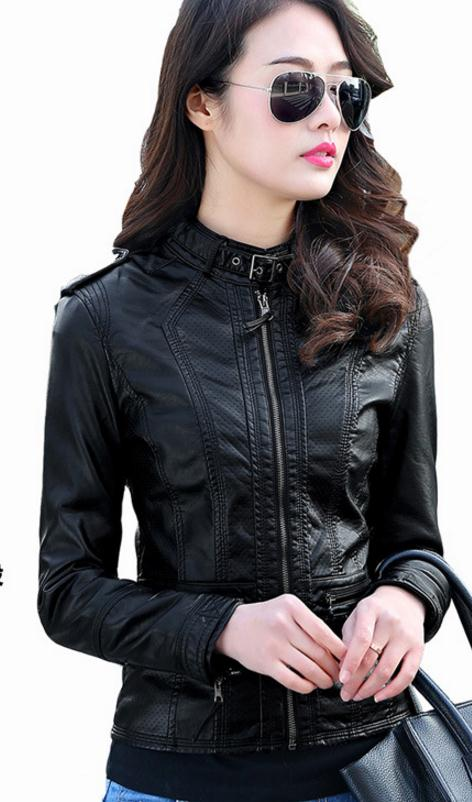 2019 Spring And Autumn Black Pu   Leather   Jacket S/5Xl Casual Large Size Street Motorcycle   Leather   Jacket Women   Leather   Coats K563