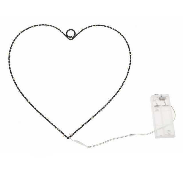 Chic Iron Design Wall Hanger Lamp Copper Wire Decoration Light Heart