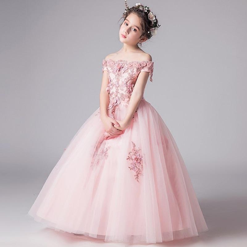 Romantic Flower Girl Wedding Bridesmaid Dress 2018 New Bead Decoration Long Lace Dress Flower Girl Party Dress