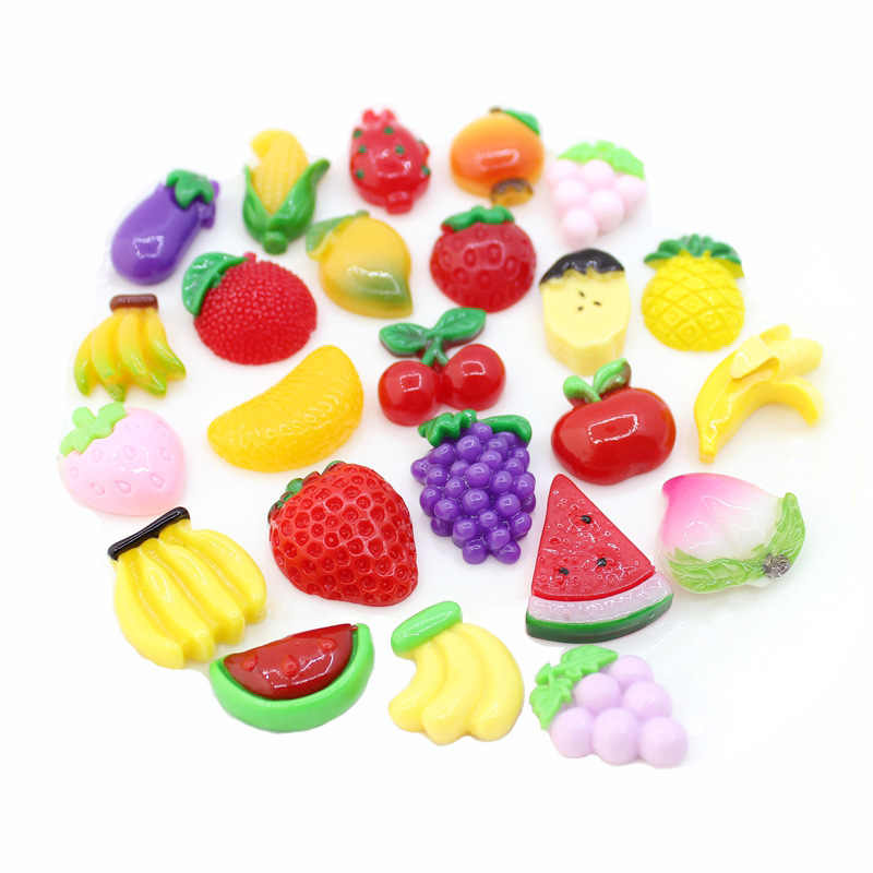 10 Pcs Mini DIY Slime Filling Accessory for Phone Case Decoration Miniature Resin Cake Fruits Candy Chocolate