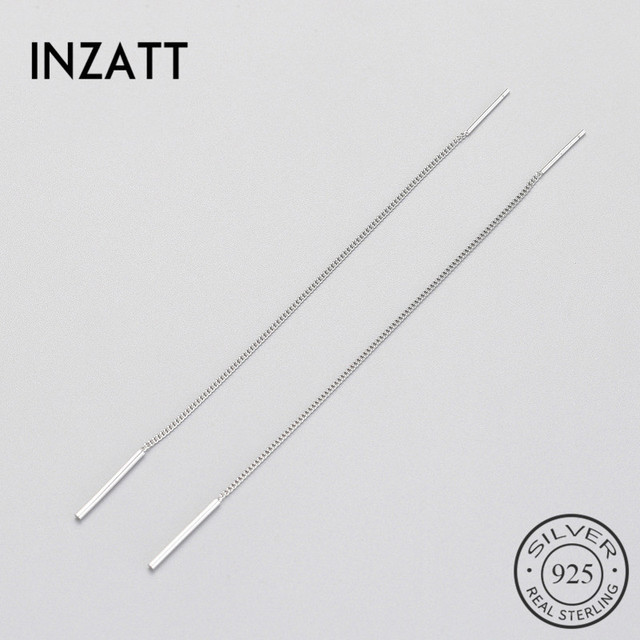 INZATT Minimalist Geometric Stick Bar Dangle Drop Earrings For Women long Tassel metal Chain Charm Silver 925 Fine Jewelry Gift